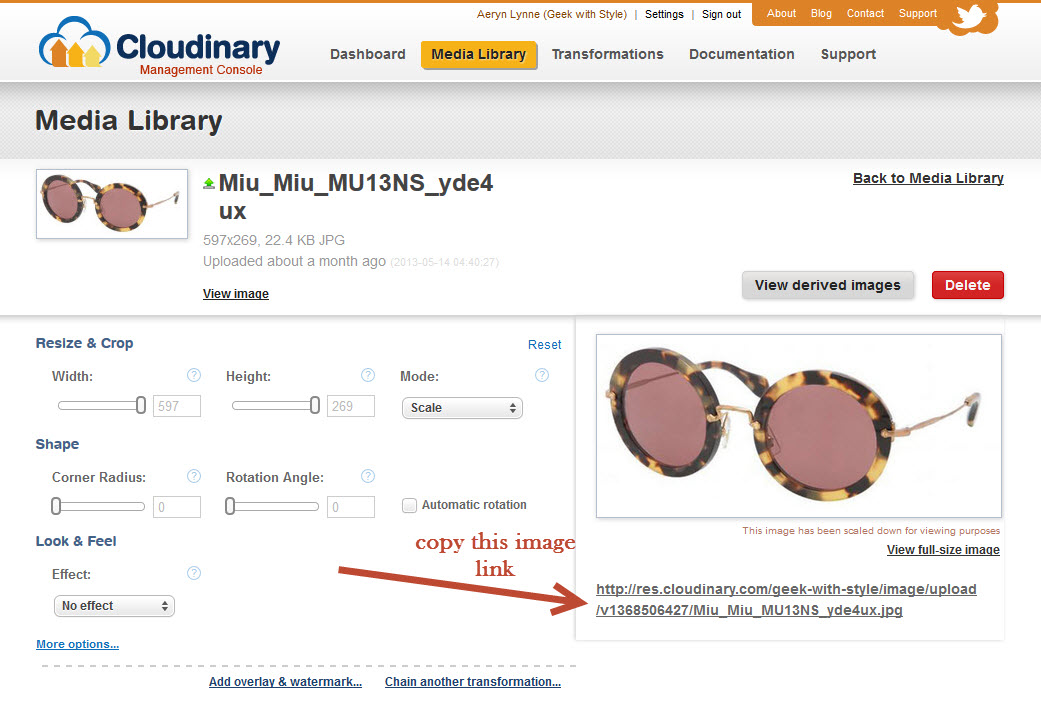 Copy image link in Cloudinary.