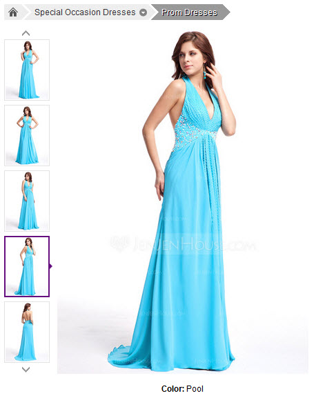 A-Line/Princess Halter Sweep Train Chiffon Prom Dress With Ruffle Beading Sequins #018025309