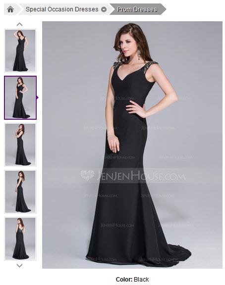 Mermaid V-neck Sweep Train Chiffon Prom Dress With Beading #018025511