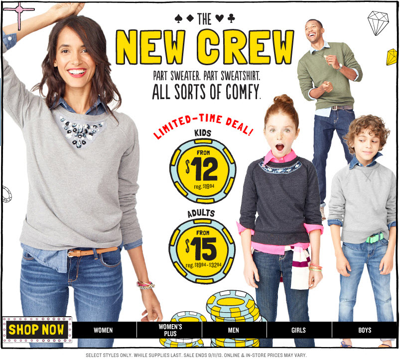 The New Crew sale at Old Navy! Ends Wednesday September, 11th!