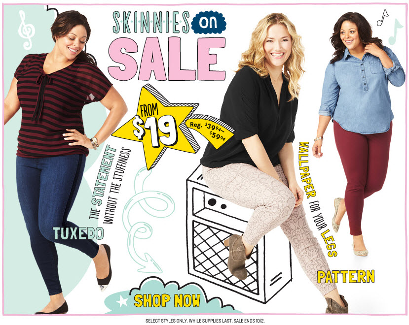 Plus Size Skinnies on sale at Old Navy, starting from $19, until Oct 2nd.
