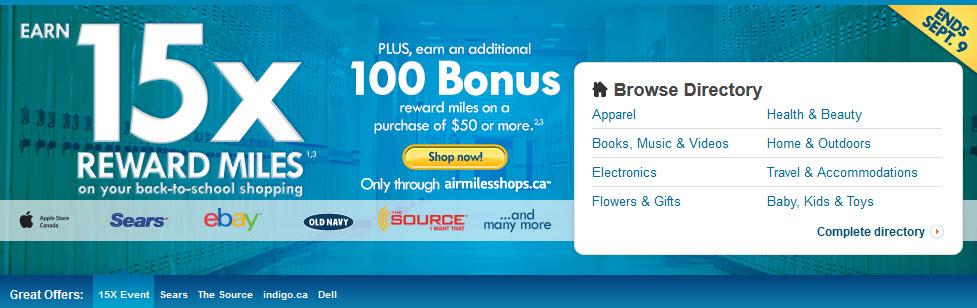 Air Miles Bonus until Sept 9 for Back to School