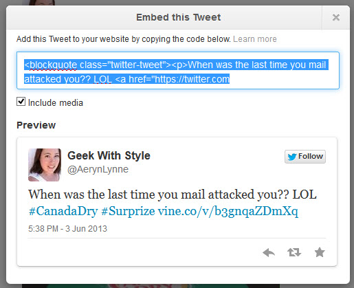 How to Embed a Tweet Including Vine