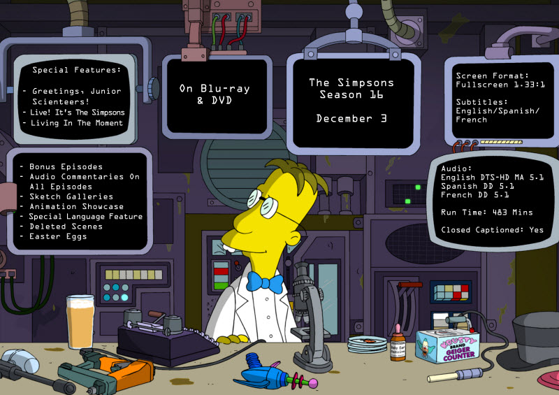 Prof Frink Special Features on The Simpsons Season 16 DVD