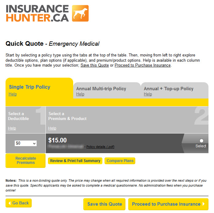 A Quick Quote from Insurance Hunter