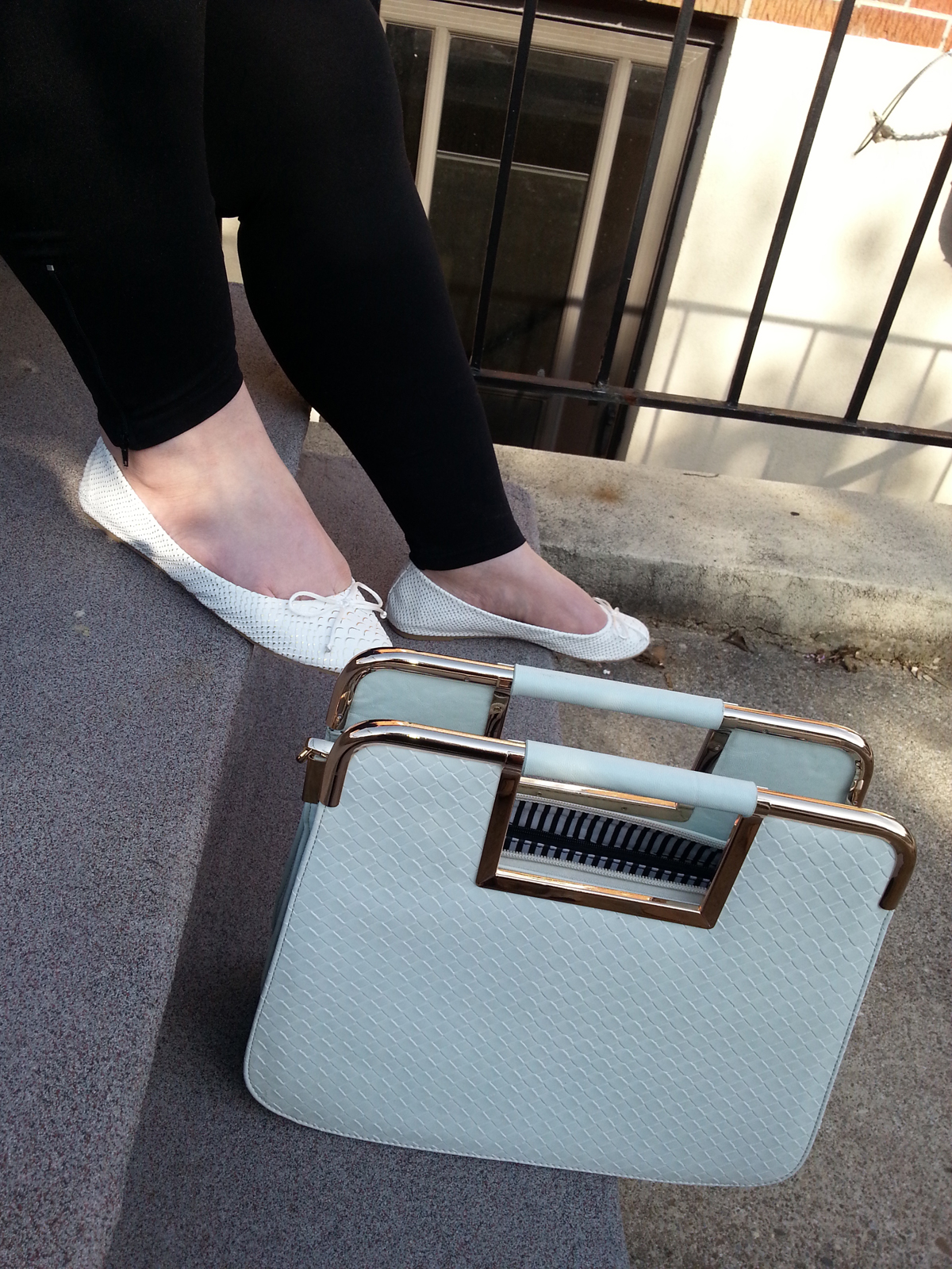 JustFab.ca Sola flats and Minimalist handbag